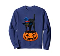 Witch Black Cat Funny Halloween Horror Scary Shirts Sweatshirt Navy