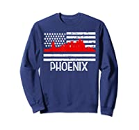 Phoenix Firefighter Red Line Skyline American Flag Hero Shirts Sweatshirt Navy