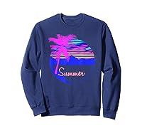Vaporwave Aesthetic Summer Beach Sunset Palm T-shirt Sweatshirt Navy