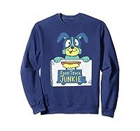 Food Truck Junkie Funny Cartoon Dog Shirts Sweatshirt Navy