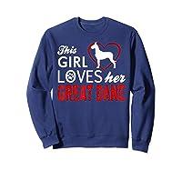 Cute This Girl Loves Her Great Dane Dog Lover T-shirt Sweatshirt Navy