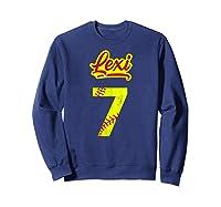 Lexi Softball No #7 Number 7 Girl Cat & Pit T-shirt Sweatshirt Navy