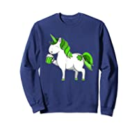 Lepricorn Unicorn St Patrick's Day With Green Clover Shirts Sweatshirt Navy