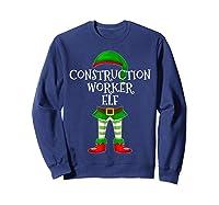 Construction Worker Elf Matching Family Christmas Design Shirts Sweatshirt Navy