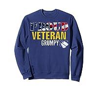 Proud Veteran Grumpy With American Flag Veteran Day Gift Shirts Sweatshirt Navy