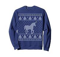Unicorn Ugly Christmas Sweater, Funny Holiday Gift Shirts Sweatshirt Navy