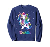 Name Rainbow Unicorn Dabbing Shirts Sweatshirt Navy