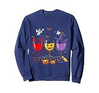Pumpkin Halloween Wine Glasses Funny Shirts Sweatshirt Navy