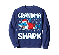 Grandma Shark Santa Christmas Family Matching S Shirts Sweatshirt Navy