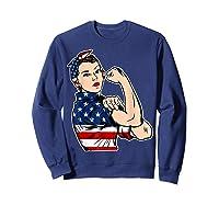Rosie The Riveter Bandana Feminist Usa Flag 4th Of July T-shirt Sweatshirt Navy