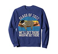 Distressed 5th Grade Class Of 2027 Sloth Grow With Me T-shirt Sweatshirt Navy