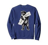 Bear Hug I Love California Art Retro Vintage Cali Bear Shirts Sweatshirt Navy