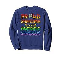 Autism Awareness Proud Grandma Of Autistic Grandson Shirts Sweatshirt Navy