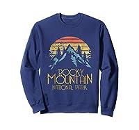 Vintage Rocky Mountains National Park Colorado Retro Shirts Sweatshirt Navy
