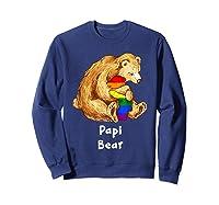 Papi Bear Proud Dad Lgbt Gay Pride Lgbt Dad Gifts Shirts Sweatshirt Navy