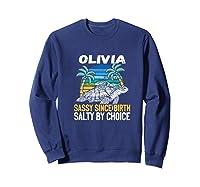 Personalized Olivia Design Sassy & Salty Quote Beach Lover Premium T-shirt Sweatshirt Navy