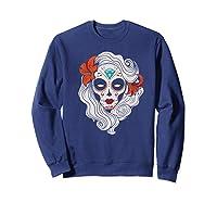 Sugar Skull Dia De Los Muertos Halloween Horror Premium T-shirt Sweatshirt Navy