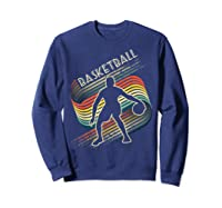 Vintage Retro Basketball Shirt Colorful Tshirt Sweatshirt Navy