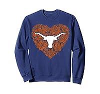 Texas Longhorns Heart Roses Apparel Shirts Sweatshirt Navy