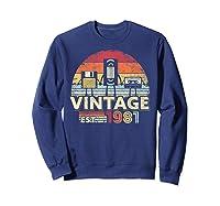 1981 Shirt. Vintage Birthday Gift, Funny Music, Tech Humor T-shirt Sweatshirt Navy