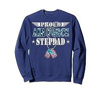 Proud Air Force Stepdad Us Flag Dog Tag Wing Military Family Shirts Sweatshirt Navy