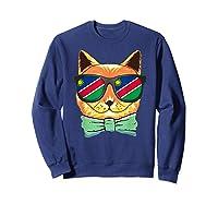 Namibia Flag Namibia Cat Sunglasses Shirt Sweatshirt Navy