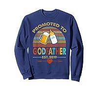 Promoted To Godfather Est 2019 Vintage Arrow Shirts Sweatshirt Navy