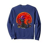 Vintage Scary Halloween Black Cat Costume Witch Hat & Moon T-shirt Sweatshirt Navy