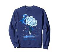 Awareness Flamingo Bule Ribbon Shirts Sweatshirt Navy