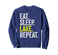 Eat Sleep Lake Repeat Summer Boating Vacation Boat Premium T-shirt Sweatshirt Navy