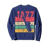 Saxophone Baritone Jazz Music Retro Vintage Gift T-shirt Sweatshirt Navy