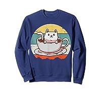 Coffee Cats Retro Vintage Gift T-shirt Sweatshirt Navy