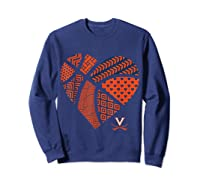 Virginia Cavaliers Patterned Heart Apparel Shirts Sweatshirt Navy