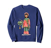 Vintage Traditional National Chinese Costume Doll Shirts Sweatshirt Navy
