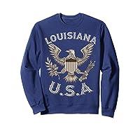 Louisiana Usa Patrio Eagle Vintage Distressed Shirts Sweatshirt Navy