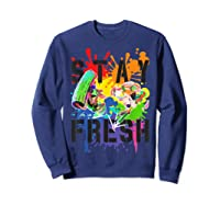 Splatoon Pride Stay Fresh Rainbow Paint Splat Shirts Sweatshirt Navy