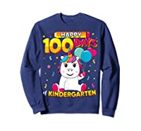 Unicorn Happy 100 Days School Kindergarten Girls Gift Shirts Sweatshirt Navy