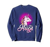 Free Mom Hugs Rainbow Lgbt Pride Unicorn T-shirt Gift Sweatshirt Navy