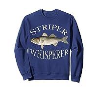 Striper Whisperer Striped Bass Fish Illustration Fishing T-shirt Sweatshirt Navy