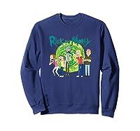 Rick & Morty Family Group Portal With Logo T-shirt Sweatshirt Navy