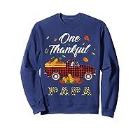One Thankful Papa Truck Thanksgiving Day Family Matching T-shirt Sweatshirt Navy