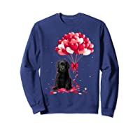 Black Labrador Love Balloons Valentine Day Shirts Sweatshirt Navy