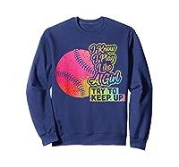 Baseball Funny Gift Team Play Like A Girl Softball Shirts Sweatshirt Navy