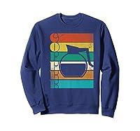 Coffee 70\\\'s Retro Style Distressed Stripes Premium T-shirt Sweatshirt Navy