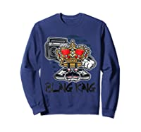 Hip Hop Bling King Shirts Sweatshirt Navy