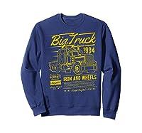 Big Truck Semi Truck Retro Distressed T-shirt Sweatshirt Navy