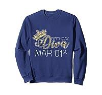 Birthday Diva On March 1st Pisces Pride Shirts Sweatshirt Navy