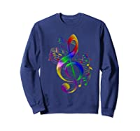 Treble Clef With Music Notes Shirts Sweatshirt Navy