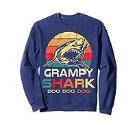 Grampy Shark Doo Doo Doo Fathers Day Gift Shirts Sweatshirt Navy
