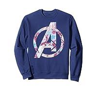 Avengers Logo Floral Super Hero Shirts Sweatshirt Navy
